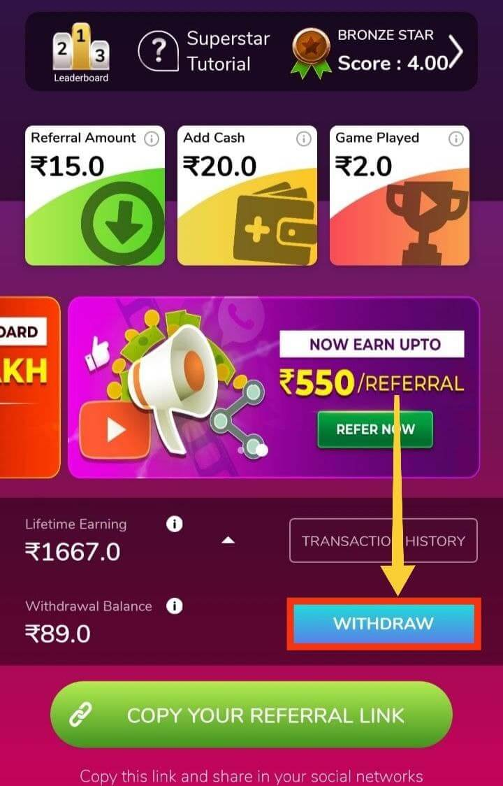 Withdraw Your Referral Earning