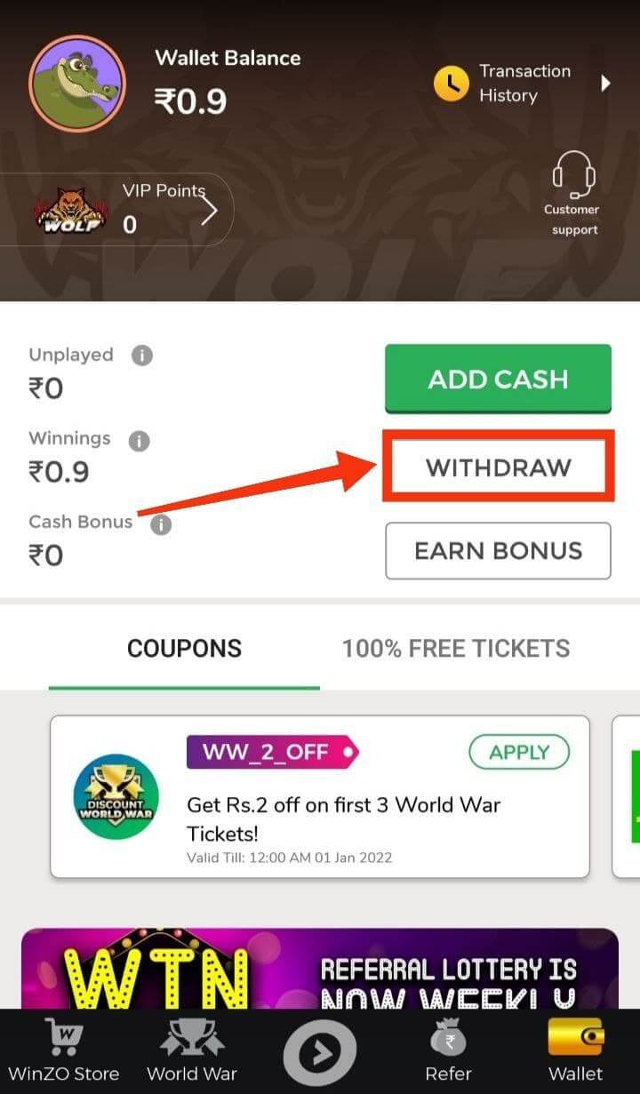 Withdraw Your Winnings Earning